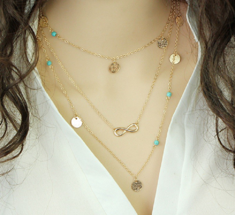 Turquoise Bohemia Bead Infinity Double Chain Pendant Necklace -  New Fashion Finds By Carole