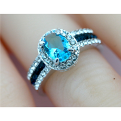 18K White Gold Plated Blue CZ ring (size 10) -  New Fashion Finds By Carole