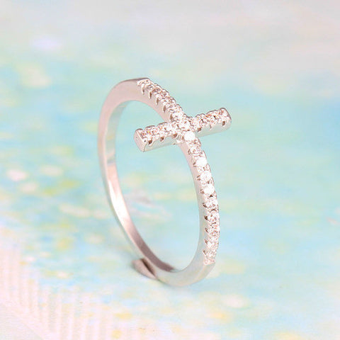 Religious Ring - White Gold Plated Simple and Stylish Sideways Zircon Cross Ring -  New Fashion Finds By Carole