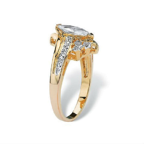 18K Rose Gold Plated Floral  CZ