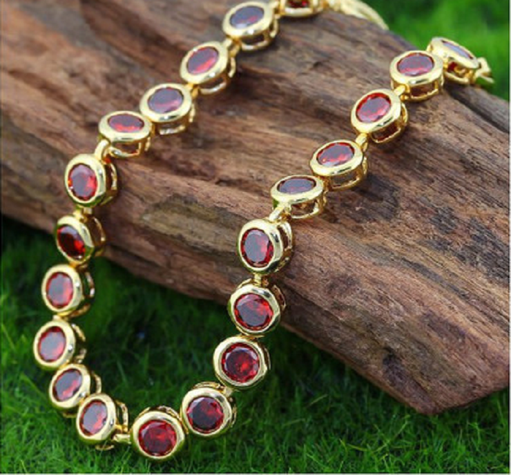 High Polish 18k Yellow Gold Filled , Red Italian CZ's -  New Fashion Finds By Carole