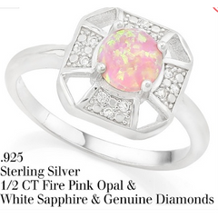 0.42ctw Pink Opal & White Sapphire with Genuine Diamonds .925 Sterling Silver ring -  New Fashion Finds By Carole