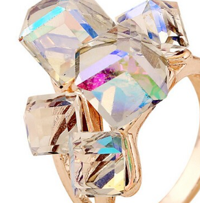 Rose Gold Plated Unique Cube rings in either rainbow/clear or red for the Holiday's -  New Fashion Finds By Carole