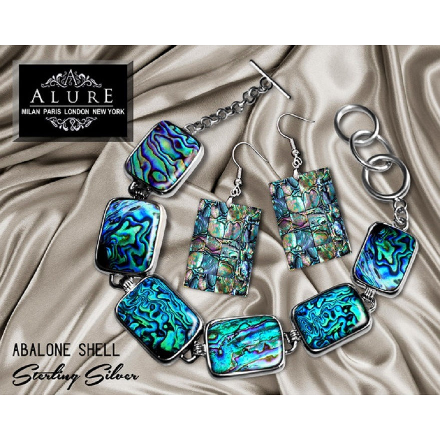 Alure Italian Genuine New Zealand Abalone Shell Silver-Plated Bracelet paired with Abalone Shell Silver Earrings -  New Fashion Finds By Carole