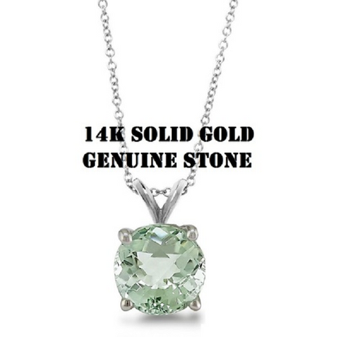 14K Solid White Gold 1.0cttw Round Green Amethyst Gemstone Pendant in Gold Fill Chain -  New Fashion Finds By Carole