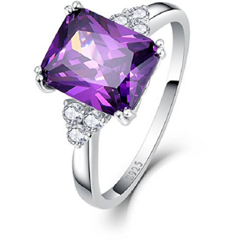 5.25Ct 8X10mm Created Purple Amethyst 925 Sterling Silver Promise Engagement Wedding Ring -  New Fashion Finds By Carole