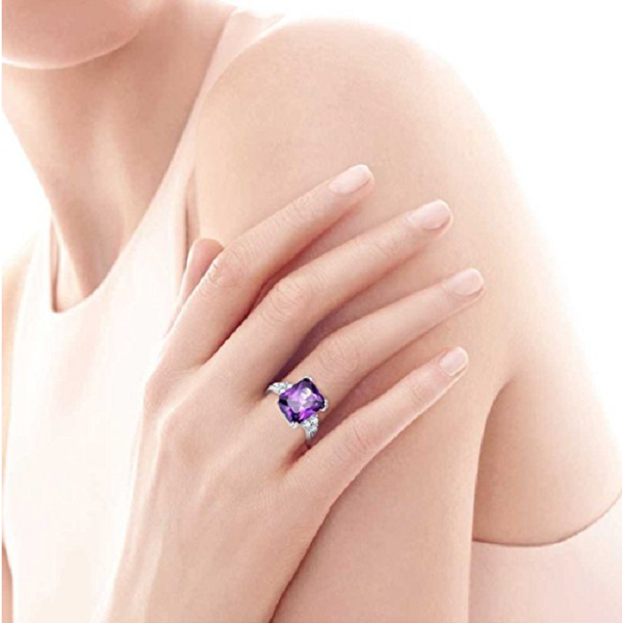 5.25Ct 8X10mm Created Purple Amethyst 925 Sterling Silver Promise Engagement Wedding Ring