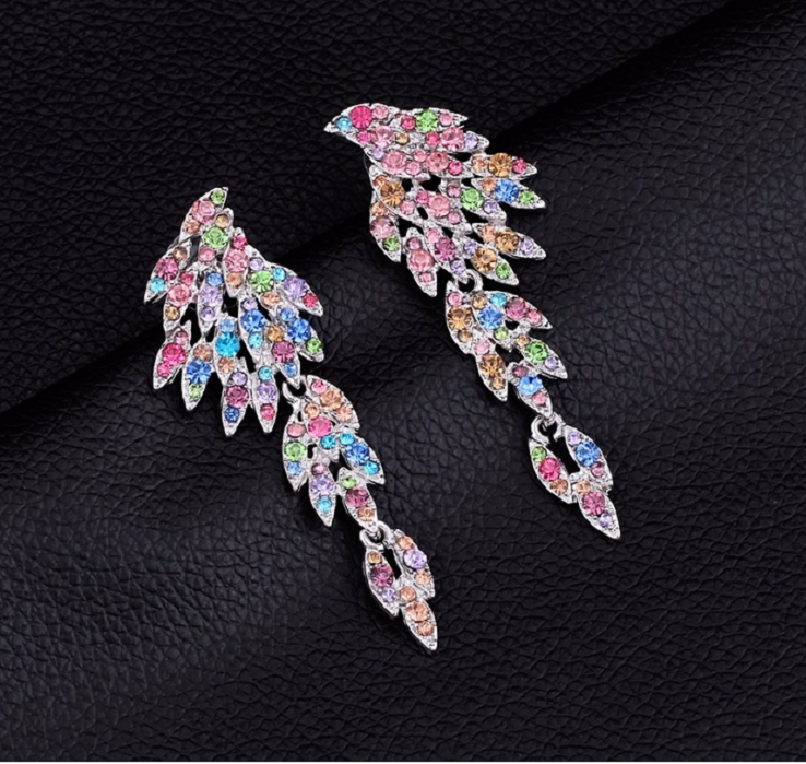 Dazzling angel wing dangle earrings. 5 Color crystals -  New Fashion Finds By Carole