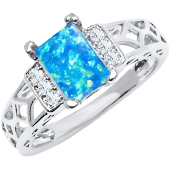 18K White Gold Plated and Aqua Multi Cubic Zirconia, Baguette-cut Ring (size 10) -  New Fashion Finds By Carole