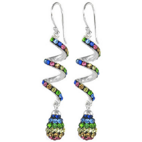 18kt White Gold Plated Austrian Crystal Drop Swirl Earrings. -  New Fashion Finds By Carole
