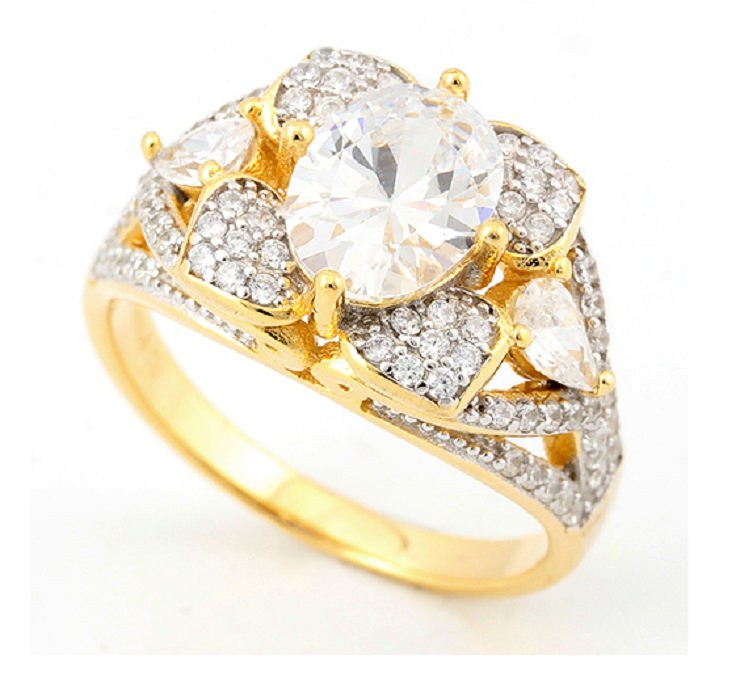 Solid .925 Sterling Silver w/18k Yellow Gold 3.25ct Genuine White Sapphire  Ring -  New Fashion Finds By Carole