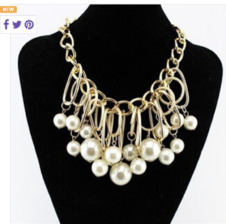 Pearl Chain Bib Necklace -  New Fashion Finds By Carole