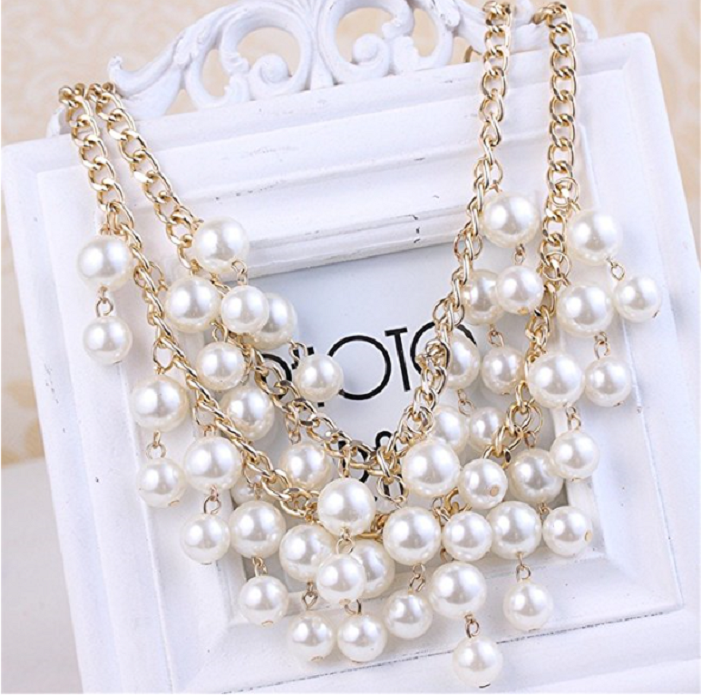 Elegant Women's Multi-Row Torsade Fringe White Pearl Bead Chain Bib Necklace -  New Fashion Finds By Carole