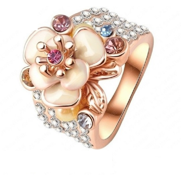 Austrian Crystal Enamel Flower Ring -  New Fashion Finds By Carole