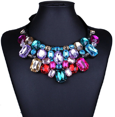 Colorful Rhinestone Geometric Beaded Bib Choker Collar Fashion Necklace Women -  New Fashion Finds By Carole