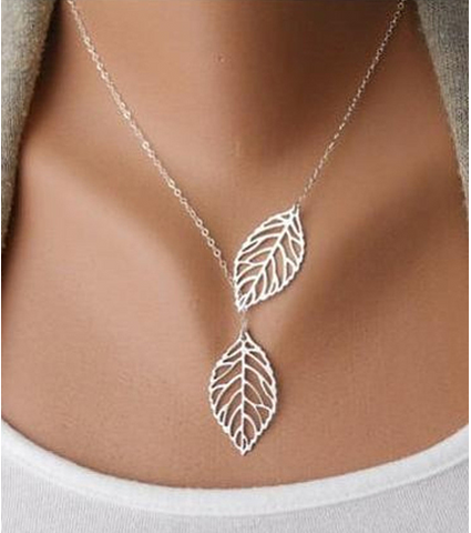 Falling Leaves Necklace.  Plated in White Gold with extra shimmer. -  New Fashion Finds By Carole