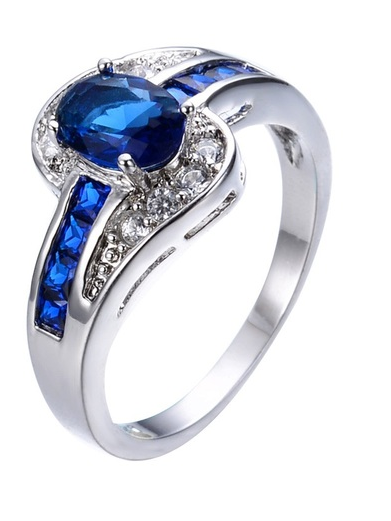 Stunning Blue and zircon white gold plated ring -  New Fashion Finds By Carole