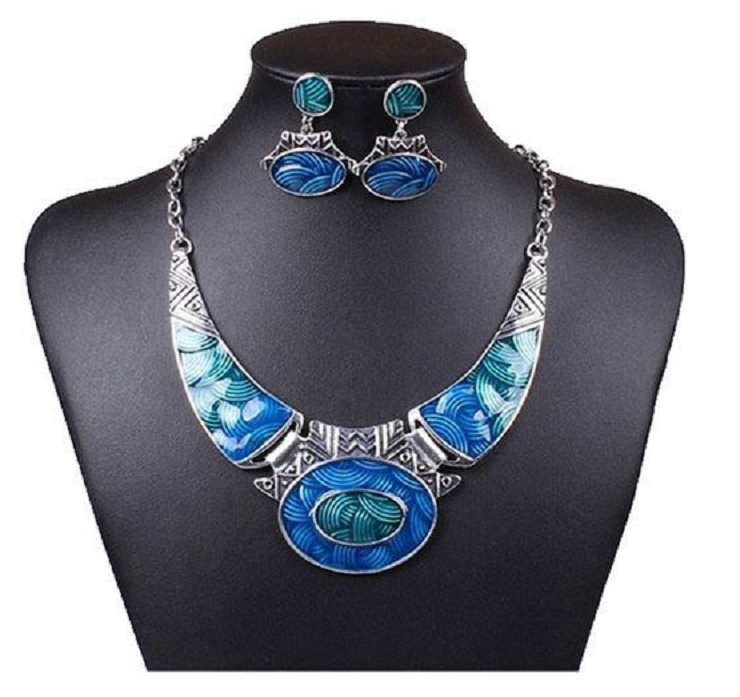 Stunning Blue Enamel Overlay Earring and Necklace Set -  New Fashion Finds By Carole