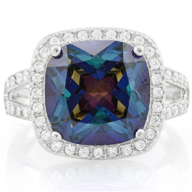 7.30ctw Genuine Blue Mystic Gemstone & White Sapphire, Solid .925 Sterling Silver Ring -  New Fashion Finds By Carole