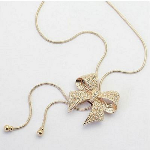 Fashion Womens Crystal Rhinestone Bowknot Tassel Pendant Sweater Long Chain Necklace (Color: Gold) -  New Fashion Finds By Carole