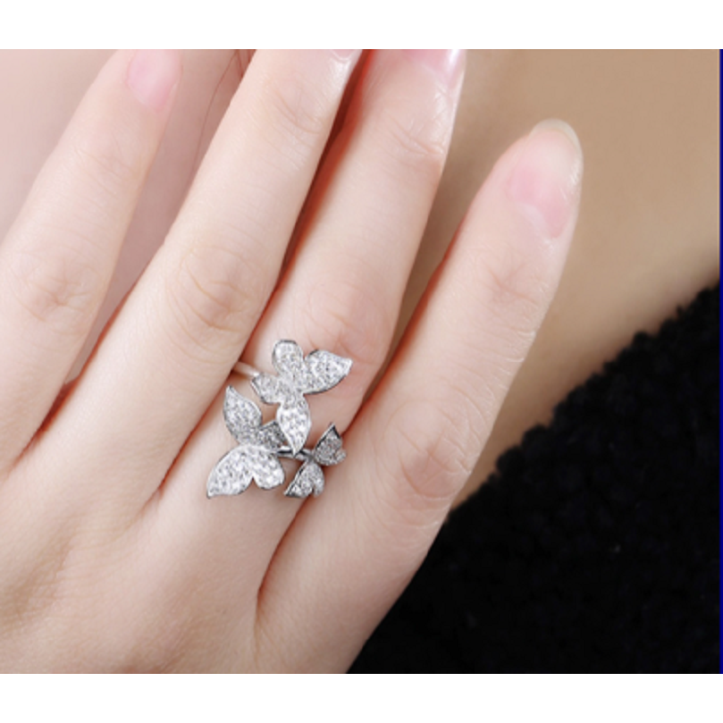 Beautiful butterfly Ring, White Gold plated with Crystals. -  New Fashion Finds By Carole