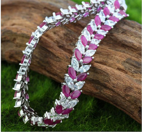 18k White Gold Layered Ruby and White Topaz Tennis Bracelet -  New Fashion Finds By Carole