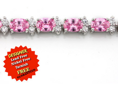 High Polish 18K White Gold 8.00 CT Pink And 1.50 CT White Italian CZ's Bracelet -  New Fashion Finds By Carole
