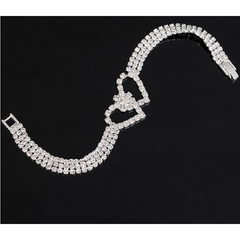 18kt White Gold Plated Crystal Double Heart Tennis Bracelet -  New Fashion Finds By Carole