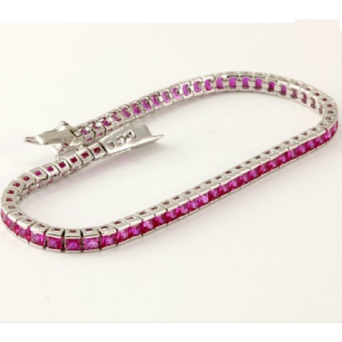 .925 Sterling Silver, 5.50cts Rubies Tennis Bracelet -  New Fashion Finds By Carole