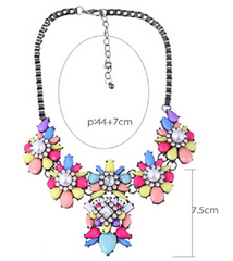 Black Chain Resin Flower Beaded Y Bib Statement Choker Necklace -  New Fashion Finds By Carole