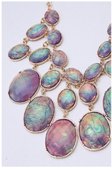 Luxury Purple Shell Like Oval Bead Bib Bubble Statement Necklace Earrings Set -  New Fashion Finds By Carole