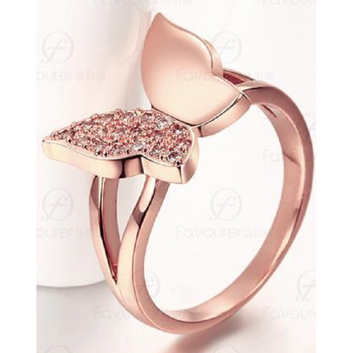 Beautiful Rose Gold Butterfly ring with AAA grade CZ crystals -  New Fashion Finds By Carole