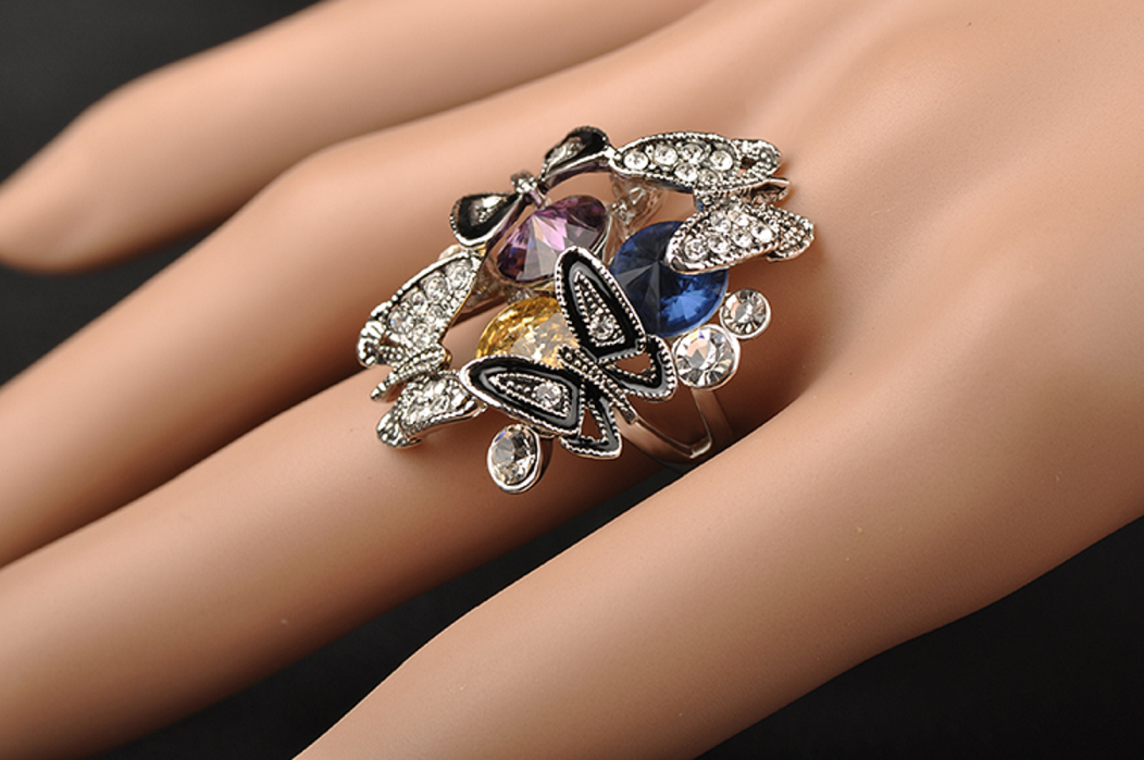 Platinum Plated Fashion Rhinestone Butterfly With Three Color Cubic Zirconia Party Finger Ring -  New Fashion Finds By Carole