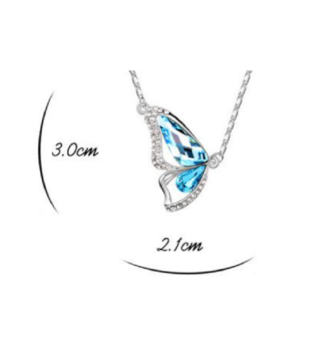 Swarovski Elements Crystal Diamond Accent Butterfly Pendant Chain Necklace