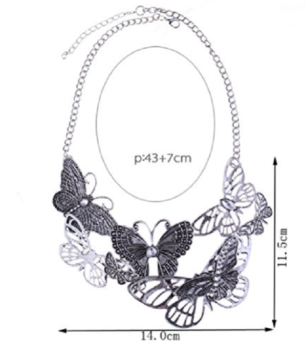 Hollow Out Butterfly Antique Silver Bib Choker Collar Necklace -  New Fashion Finds By Carole
