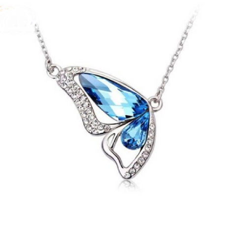 Crystal Butterfly Necklace Blue -  New Fashion Finds By Carole