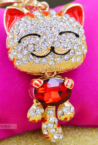 Red Cat Sparkling Bag Charm or Keychain -  New Fashion Finds By Carole