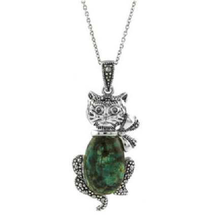 .925 Sterling Silver Cat Necklace With Genuine Marcasite And Real Turquoise -  New Fashion Finds By Carole