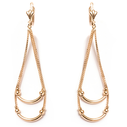 18K Gold Plated Gold Double Chain Teardrop Earrings -  New Fashion Finds By Carole