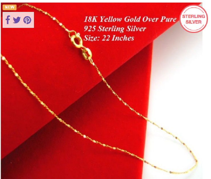 "Yellow Gold Over 925 Sterling Silver 22"" Starry Chain Stamped Italy 925 -  New Fashion Finds By Carole"