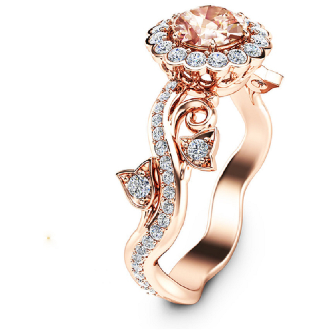 18K Rose Gold Plated Floral Champagne CZ -  New Fashion Finds By Carole