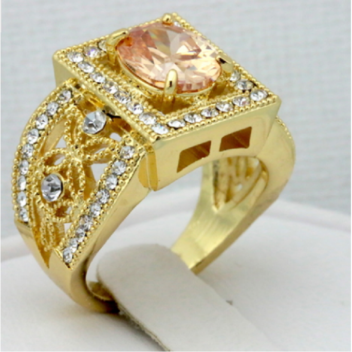 18K Yellow Gold Plated CZ Ring -  New Fashion Finds By Carole