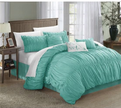 Chic Home Frances 7-piece Aqua Pleated and Ruffled Comforter Set - bedding -  New Fashion Finds By Carole