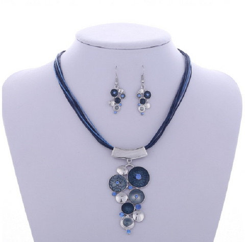 Crystal Butterfly Necklace Blue