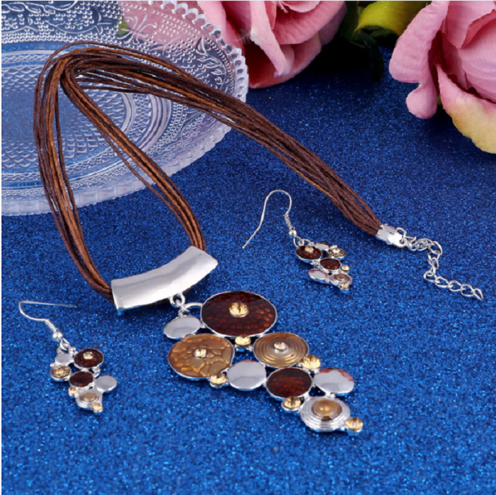 Big Circle Enamel Necklace Earrings Jewelry Sets For Women Boho Jewelry  BROWN -  New Fashion Finds By Carole