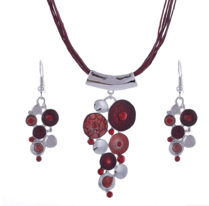 Big Circle Enamel Necklace Earrings Jewelry Sets For Women Boho Jewelry  RED -  New Fashion Finds By Carole