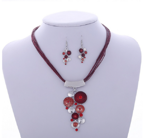 .925 Sterling Silver, 1.00ctw Genuine Rhodolite & White Topaz Necklace