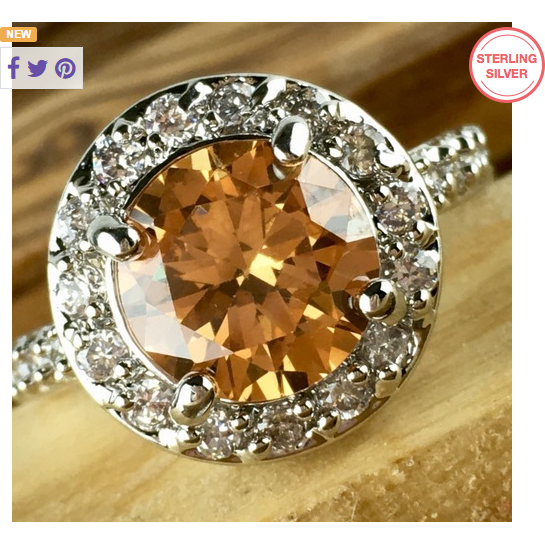 .925 Sterling Silver 3ct Citrine Center & 1ctw white topaz Ring -  New Fashion Finds By Carole