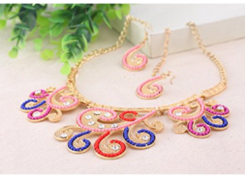 Big Circle Enamel Necklace Earrings Jewelry Sets For Women Boho Jewelry  BLUE