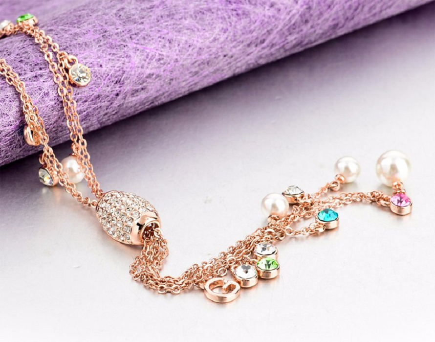 Multicolor Pendant Tassel Necklace Women Simulated Pearl Crystal Gold Color Long Necklace -  New Fashion Finds By Carole